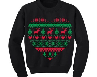 Cute Heart Shaped Ugly Christmas Sweater Kids Clothing