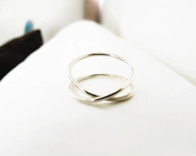 Sterling Silver Infinity Ring Hammered Ring Index Ring Handmade Jewelry For Her
