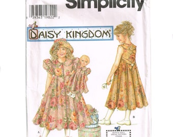 Daisy Kingdom Girls Dress Pattern with bonus doll dress pattern, dolly and me outfit, Simplicity 7550 Party Dress Size 7 8 10 12, Uncut, 90s