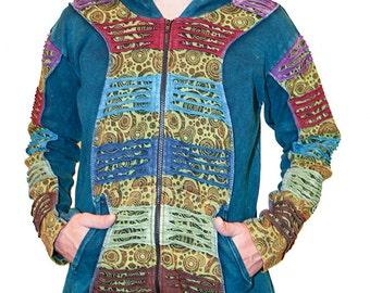 Men's Hippie  Slashed  Hoodie - Hippie - Men - Women - Cotton  - Stone Washed - Nepal Style