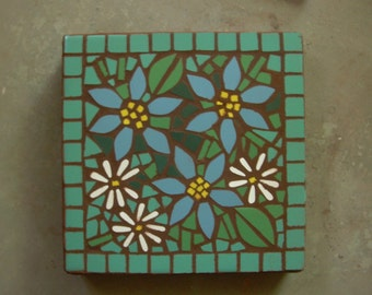 "Made to Order, jade background tile, exterior mosaic stepping stone, 12"" x 12"", daisies, blue and yellow flowers with jade"
