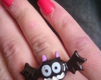 Halloween Creepy Cute Resin Crazy Bat Adjustable Ring Large Pastel Goth