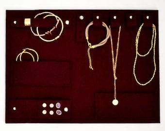 Oxblood lux travel jewelry clutch, jewelry organizer, best travel companion, jewelry holder storage, jewelry display bag, case