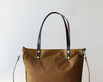 Wax Canvas Bag, Messenger bag, Crossbody bag, Canvas Tote Bag Leather Handles, Cinnamon Brown