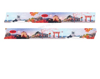 "Masté ""Kyoto"" Japanese Washi Tape - Wide 25mm x 7m - 4 Seasons in the Iconic City of Kyoto - Shrine, Kimono, Cherry Blossoms"