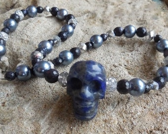 Edgy lapis skull pearls and crystal choker necklace