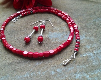 Natural Red Coral Necklace/Feminine Everyday Coral /Dainty Red Gemstone/Artisan Handmade Coral Jewelry by IndigoLayne