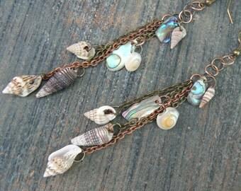 mermaid earrings seashell earrings abalone earrings dangle earrings in beach summer  boho gypsy hippie hipster beach resort and tribal style