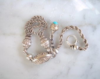 Antique Silver Bracelet - Albertine / Albertina Watch Chain Bracelet with Decorative Hasps, Turquoise Gem Fob & Spring Ring Clasp