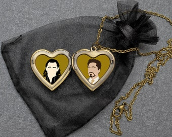 Frostiron OTP necklace – Loki x Tony Stark Iron Man locket – fandom cosplay jewellery / jewelry