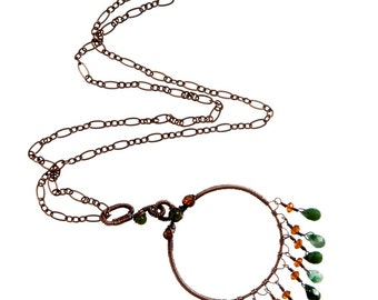 Hoop Pendant Necklace in Copper with Moss Agate and Hessionite Fringe, Original Design, Handmade Jewelry