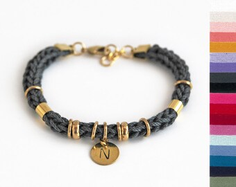 Personalized bracelet with initial charm and rings, initial bracelet, knit rope bracelet, gift for her