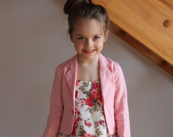 Girls pink linen jacket summer spring flower girl special occasion eco friendly Sale Item Ready to Wear Size 5T-6T