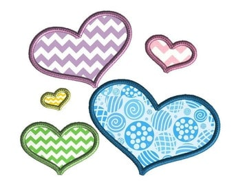 Heart applique embroidery design, digital download, 5 sizes, machine embroidery design