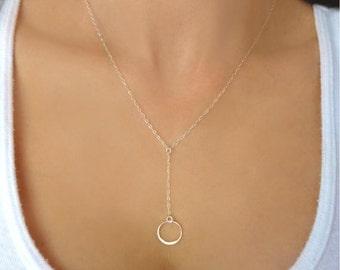 Infinity Lariat Necklace, Circle Pendant Necklace, Sterling Silver Lariat, Tiny Circle Necklace Silver, Long Sterling Silver Lariat Gift