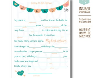 Bridal Shower Game-- Mad Libs for the Bride to Be-Customization NOT Included