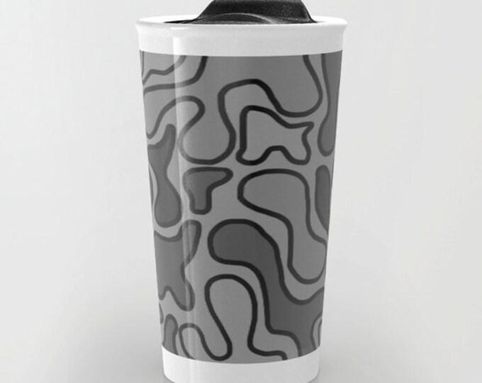 Black Abstract Travel Mug - Black and Gray - Coffee Travel Mug - Hot or Cold Travel Mug - 12oz Travel Mug - Made to Order