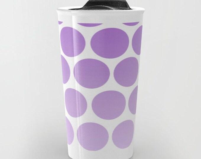 Purple Polka Dot Travel Mug Ceramic - Coffee Travel Mug - Hot or Cold Travel Mug - 12oz Travel Mug -Made to Order
