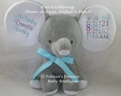 Personalized Birth Announcement Dumble Floppy Eared Stuffed Elephant by Felicia's Fancies Baby Boutique