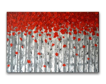 Impasto painting, birch tree painting, original abstract painting, large canvas wall art, textured art, palette knife painting