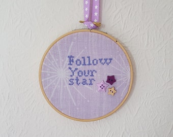 Follow Your Star. Motivational Gift. Embroidery. 5 inch Hoop Art. Cross stitch Quote.  Wall Hanging. Inspirational Quote.  Home Décor.