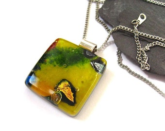 Square glass necklace, yellow statement necklace, in Dichroic Fused glass, pendant for her, hostess, Mum, friend gift NL920, summer jewelry