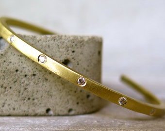 Diamond cuff bracelet-white diamond bracelet- gold cuff bracelet with diamonds-statement bracelet- gold cuff bracelet