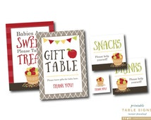 Apple Baby Shower Table Signs, Bushel of Fun Theme, Fall Baby Shower, INSTANT DOWNLOAD, Babies Are Sweet Sign, Gift Table Sign, #F1