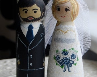 Hand-Painted Customized Wooden Peg Wedding Cake Toppers #2