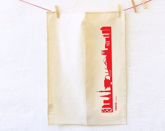 Dish Towel red TOKYO Skyline green gift Organic Cotton Tea Towel screenprinted by hand in red- Kitchen Decor - by 44spaces