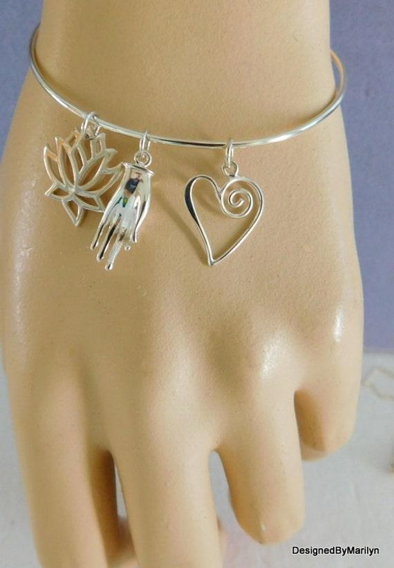 Sterling silver bangle bracelet, lotus bracelet, calming and meditation