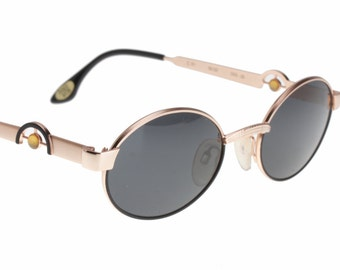 Dolcevita by Casanova unique pink gold & black avant garde sunglasses hand made in Italy, NOS 1980s