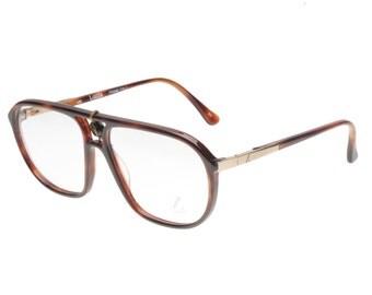 Lozza Zilo/E  classic made in Italy havana cello double bridge aviator eyeglasses - sunglasses frames with golden metal flex hinges