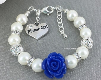 Royal Blue Flower and Ivory Pearl Bracelet, Flower Girl Jewelry, Flower Girl Gift, Ivory Bracelet, Children Bracelet, Royal Blue Wedding