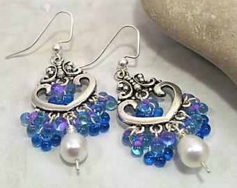 Lavender Lined Aqua Miyuki Fringe Beads Earrings, Freshwater White Pearl  Shaggy Beaded Earrings Israeli jewelry