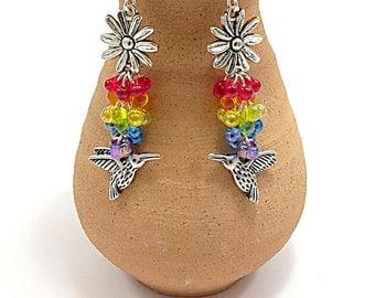 Rainbow,  Bird Earrings, Birds Lovers Charm Earrings, Multicolored Glass Beaded Earrings