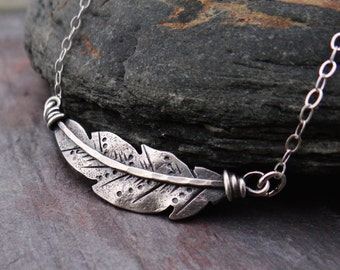 Smaller Sideways Feather Choker // hand forged sterling silver bird feather //  southwest native american inspired metalsmith jewelry (3974)