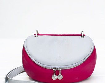 "Two Tone (Dust Gray-fuchsia) Leather Purse / Shoulder / Crossbody Bag ""Mini Lunette""/Silver Hardware"
