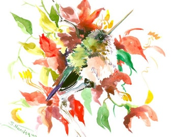 Baby Hummingbird and Red Flowers 12 X 9 in, original watercolor art