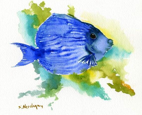 Bright Blue Angelfish Original watercolor painting Blue