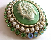 Large Green Cameo Brooch by DODDS, Rhinestones and ABs, Flower Basket, Signed Vintage