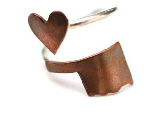 Oklahoma State Twist Ring (Sterling Silver & Copper Place State Love Map Ring)