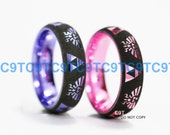 6MM Pink Or Sunset Purple Tungsten Wedding Ring, Dome Style, Legend of Zelda Inspired Design, Free Inside Ingraving
