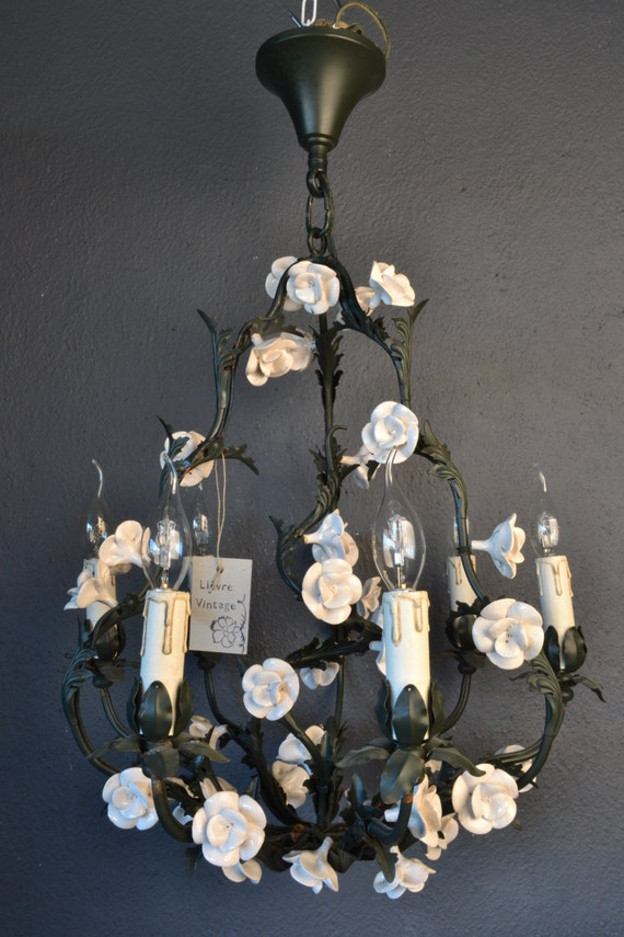 Beautiful tole flower chandelier with white roses