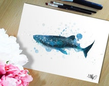 Whale Shark Watercolour Painting Style Wall Print. Shark Week Ooh Ha Ha Painting Print. Ocean Sea Life Art Print. Sea Creature.