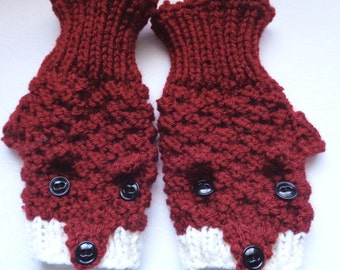 Fox Gloves, Fingerless Mitts, Hand Knit Wrist Warmers, Red Fox Gloves, Gloves with Fox Design, Made to Order, Womens Gloves, Unisex Gloves,