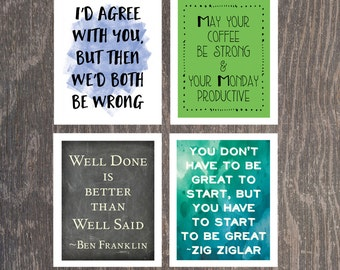 Office art, Cubicle art, Office Decor, Coffee art, Ben Franklin Quote, Zig Ziglar quote,  Funny art, Instant Download, Downloadable Art