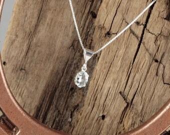 Aquamarine Pendant/Necklace - Sterling Silver Pendant/Necklace -  Sterling Silver Setting with a 5mm x 7mm Natural Aquamarine Stone