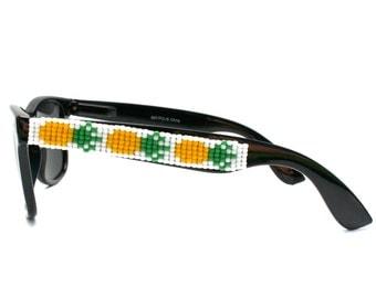 Polarized Pineapple Sunglasses, Hand beaded, Beaded Sunglasses, Wayfarer Sunglasses, Ray Ban Style, Unique Gift, Summer Accessory, Handmade
