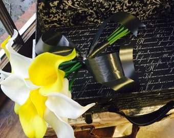 Wedding Bouquet, Yellow White calla lily Bouquet, Yellow White Bridal Bouquet, yellow Gray wedding, Yellow gray bouquet, yellow bouquet